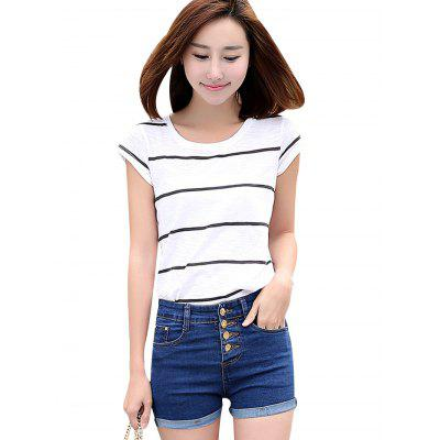 High Waist Women Stretch Jean Shorts