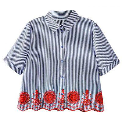Embroidered Short Sleeves Pinstripe Shirt