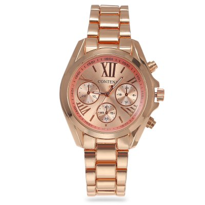 Contena Women Quartz WatchWomens Watches<br>Contena Women Quartz Watch<br><br>Band material: Stainless Steel<br>Band size: 20.00 x 1.50 cm / 7.87 x 0.59 inches<br>Brand: Contena<br>Case material: Stainless Steel<br>Clasp type: Folding clasp with safety<br>Dial size: 3.50 x 3.50 x 1.20 cm / 1.38 x 1.38 x 0.47 inches<br>Display type: Analog<br>Movement type: Quartz watch<br>Package Contents: 1 x Contena Watch<br>Package size (L x W x H): 8.50 x 8.00 x 5.00 cm / 3.35 x 3.15 x 1.97 inches<br>Package weight: 0.1220 kg<br>Product size (L x W x H): 20.00 x 3.50 x 1.20 cm / 7.87 x 1.38 x 0.47 inches<br>Product weight: 0.0910 kg<br>Shape of the dial: Round<br>Special features: Decorative sub-dial<br>Watch color: Golden, Gold and Silver, Rose Gold and Silver, Silver, Rose Gold<br>Watch style: Fashion<br>Watches categories: Female table