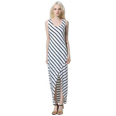 Robe Longue à Rayures Anormaux pour Femmes