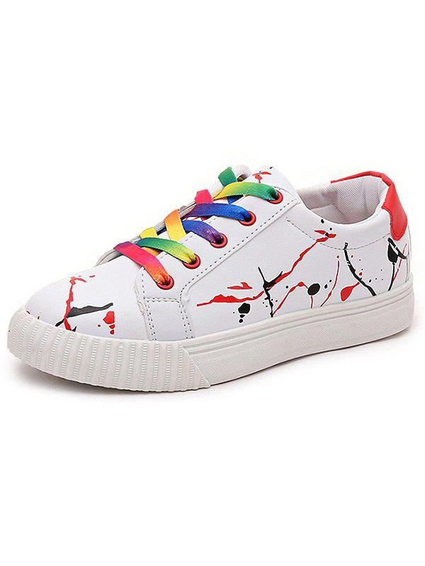 Graffiti White Trainers, RED, 39, Bags & Shoes, Women's Shoes, Women's Sneakers