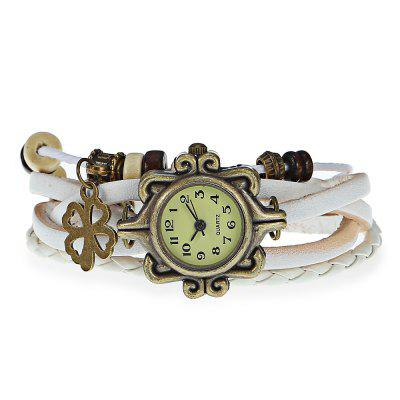 Fashion Style Watch with Four - leaf Clover Pendant and Knitting Leather Watch BandWomens Watches<br>Fashion Style Watch with Four - leaf Clover Pendant and Knitting Leather Watch Band<br><br>Band material: Leather<br>Case material: Stainless Steel<br>Clasp type: Buckle<br>Display type: Analog<br>Movement type: Quartz watch<br>Package Contents: 1 x Watch<br>Package size (L x W x H): 22.00 x 3.50 x 2.00 cm / 8.66 x 1.38 x 0.79 inches<br>Package weight: 0.0510 kg<br>Product size (L x W x H): 21.00 x 2.50 x 1.00 cm / 8.27 x 0.98 x 0.39 inches<br>Product weight: 0.0210 kg<br>Shape of the dial: Round<br>Style: Fashion&amp;Casual<br>The dial diameter: 2.5 cm / 1.0 inch<br>The dial thickness: 1.0 cm / 0.4 inch<br>Watches categories: Female table