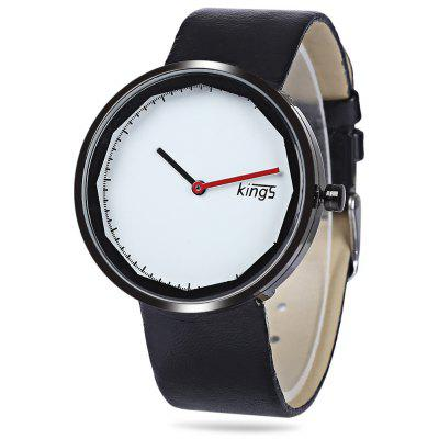 Kings Quartz Watch with Simple Round Dial Rubber Strap for Women or Men