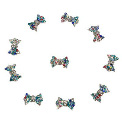 10pcs Colorful Rhinestone Bowtie 3D Alloy Nail Art Decoration