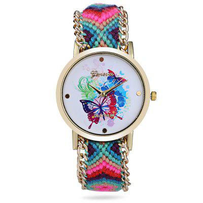 Geneva Butterfly Face Women Woven Woolen Quartz WatchWomens Watches<br>Geneva Butterfly Face Women Woven Woolen Quartz Watch<br><br>Band material: Woolen<br>Brand: Geneva<br>Case material: Stainless Steel<br>Clasp type: Conjoined clasp<br>Display type: Analog<br>Movement type: Quartz watch<br>Package Contents: 1 x Geneva Watch<br>Package size (L x W x H): 37.00 x 4.50 x 1.70 cm / 14.57 x 1.77 x 0.67 inches<br>Package weight: 0.0590 kg<br>Product size (L x W x H): 36.00 x 3.50 x 0.70 cm / 14.17 x 1.38 x 0.28 inches<br>Product weight: 0.0290 kg<br>Shape of the dial: Round<br>Style: Fashion&amp;Casual, Bracelet<br>The dial diameter: 3.50 cm / 1.38 inches<br>The dial thickness: 0.70 cm / 0.28 inches<br>Watches categories: Female table