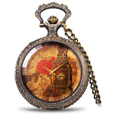 Retro Pocket Watch with Iron Tower and Peony Patterned Round Dial