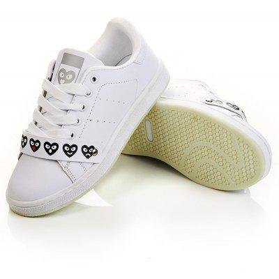 Buy WHITE Lovely Heart White Trainers for $24.30 in GearBest store