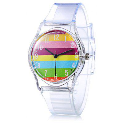 A906 Children Quartz Watch Colorful Stripe Pattern Round Dial Transparent Rubber Watch Band