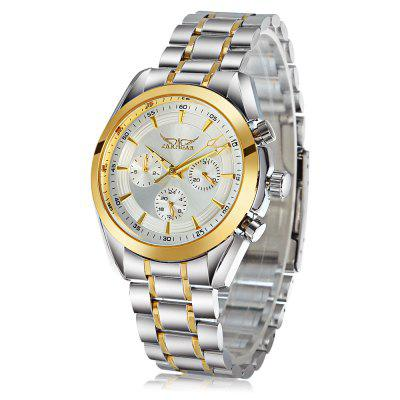 Jaragar A055 Men Luminous Hands Automatic Mechanical Watch Multi - function Sub - dials Round Dial Steel Watchband