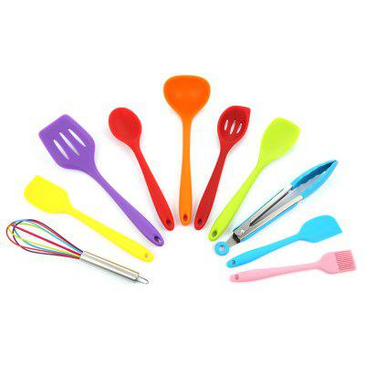 10PCS Colorful Silicone Kitchen Utensil Non-stick Cooking Tools