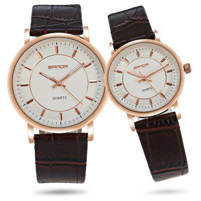 Sanda P193 Leather Couple Quartz Watches