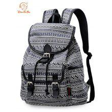 Douguyan Printed Backpack Leisure Travel Shopping Bag