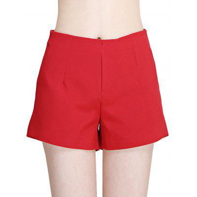High Waist Solid Color Zipper Women Dress Shorts