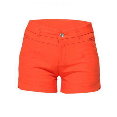 Solid Color Middle Waist Women Summer Shorts