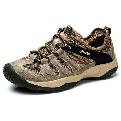 Leather Mesh Splicing Hiking Shoes