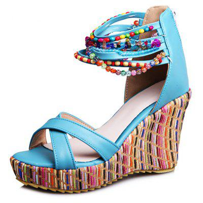 Bohemian Bead Wedge Sandals