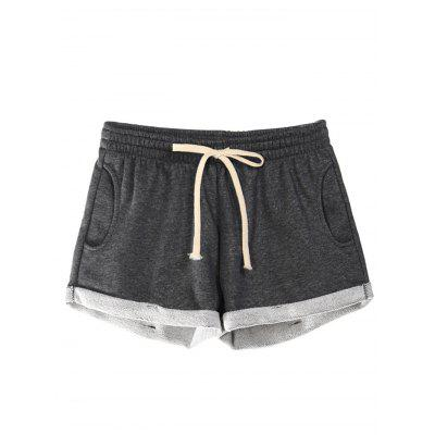 Elastic Waist Pocket Women Cotton Shorts