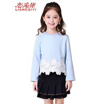 Liancaiyi Two Pieces Lace Embroidered Tops with Denim Skirt for Girls