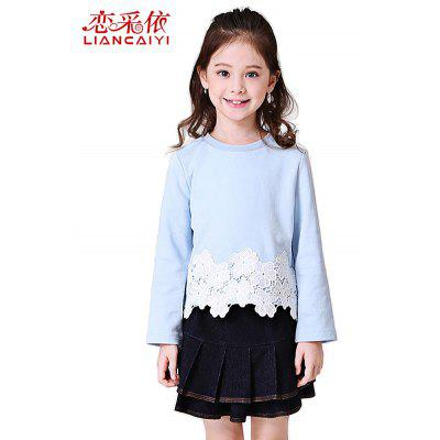 Liancaiyi Two Pieces Long Sleeve Lace Embroidered Tops with Denim Skirt for Girls