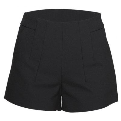 High Waist Black A-line Women Dress Shorts