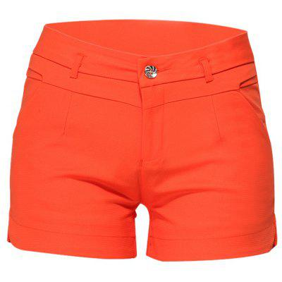 Casual Solid Color Middle Waist Women Summer Shorts