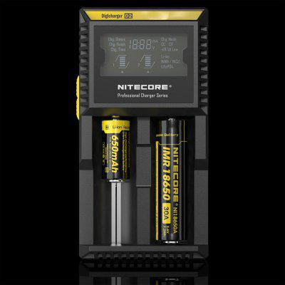 Nitecore D2 Intelligent Digi ChargerChargers<br>Nitecore D2 Intelligent Digi Charger<br><br>Brand: Nitecore<br>Charging Cell Qty: 2<br>Charging Cell Type: NiCd, Ni-MH, Lithium Ion, LiFePO4<br>Circuit Detection: Yes<br>Compatible: 18650, 22650, 26650, AA, AAA, AAAA, C, 18500, 18490, 10440, 14500, 16340 (RCR123), 17500, 17670, 18350<br>Indicator: The light will stop blinking after fully charged<br>Input Voltage: AC 100~240V 50/60HZ,DC 12V<br>LCD Screen: Yes<br>Model: D2<br>Output Voltage: 4.2V / 3.7V / 1.48V + / - 1pct<br>Over Charging Protection: Yes<br>Over Discharging Protection: Yes<br>Over Voltage Protection: Yes<br>Package Contents: 1 x Nitecore D2 Smart Digital Battery Charger<br>Package size (L x W x H): 10.00 x 10.00 x 5.00 cm / 3.94 x 3.94 x 1.97 inches<br>Package weight: 0.3100 kg<br>Plug: US adapter<br>Product size (L x W x H): 14.30 x 7.40 x 3.60 cm / 5.63 x 2.91 x 1.42 inches<br>Product weight: 0.1680 kg<br>Protected Circuit: Yes<br>Reverse Polarity Protection: Yes<br>Short Circuit Protection: Yes<br>Type: Charger