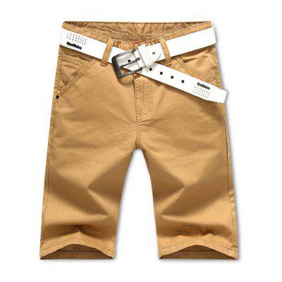 Solid Color Slim Fit Cotton Shorts for Men