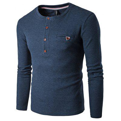 Buy PURPLISH BLUE WHATLEES Knitted Long Sleeve T Shirts for $14.83 in GearBest store