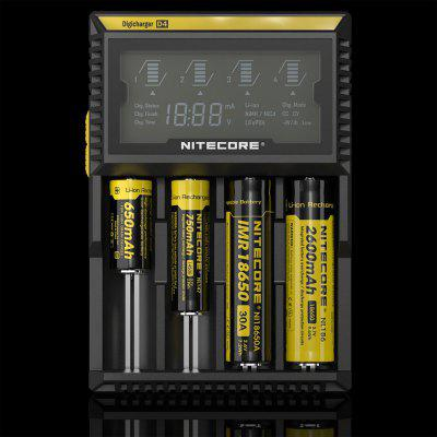 Nitecore D4 Li-ion Ni-MH NiCd LiFePO4 Smart LCD Battery ChargerChargers<br>Nitecore D4 Li-ion Ni-MH NiCd LiFePO4 Smart LCD Battery Charger<br><br>Brand: Nitecore<br>Charge Control Methods: -dV/dt,CC (Constant-current),CV (Constant-voltage)<br>Charging Cell Qty: 4<br>Charging Cell Type: LiFePO4, Lithium Ion, Ni-MH, NiCd<br>Circuit Detection: Yes<br>Compatible: 22650, 26650, AA, AAA, AAAA, C, 18650, 18500, 10440, 14500, 16340 (RCR123), 17500, 17670, 18350, 18490<br>Fast Charging Function: No<br>Input Voltage: AC 100~240V 50/60HZ,DC 12V<br>LCD Screen: Yes<br>Model: D4<br>Over Charging Protection: Yes<br>Over Discharging Protection: Yes<br>Over Voltage Protection: Yes<br>Package Contents: 1 x Nitecore D4 Battery Charger<br>Package size (L x W x H): 22.00 x 15.50 x 6.00 cm / 8.66 x 6.1 x 2.36 inches<br>Package weight: 0.4010 kg<br>Product size (L x W x H): 14.30 x 9.90 x 3.60 cm / 5.63 x 3.9 x 1.42 inches<br>Product weight: 0.2400 kg<br>Protected Circuit: Yes<br>Reverse Polarity Protection: Yes<br>Short Circuit Protection: Yes<br>Type: Charger