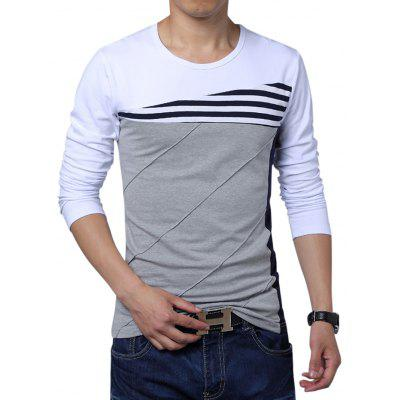 Long Sleeve Color Block Men Art T-Shirts