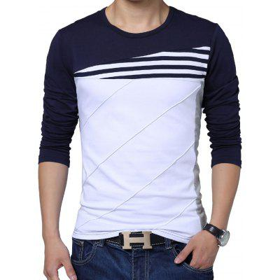 Buy PURPLISH BLUE Long Sleeve Color Block Men T-shirt for $17.13 in GearBest store