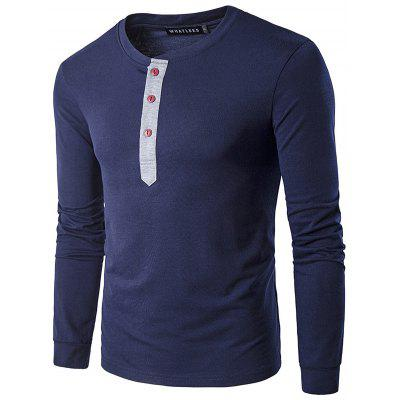Buy PURPLISH BLUE WHATLEES Contrast Placket Long Sleeve Art T-Shirts for $15.55 in GearBest store