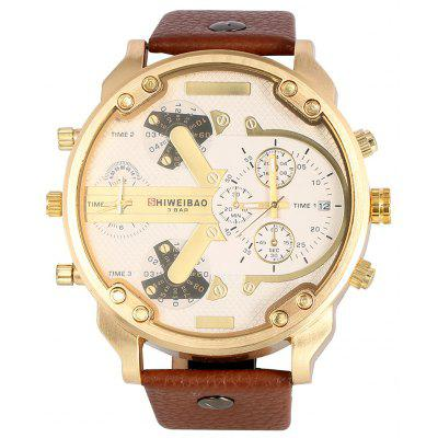 Shiweibao A3137 Big Dial Golden Case Male Dual Movt Quartz Watch with Leather Band