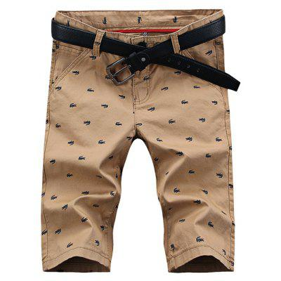 UYUK Straight Printed Tight Middle Waist Men Short Shorts