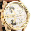 Shiweibao A3137 Big Dial Golden Case Male Dual Movt Quartz Watch with Leather Band - COFFEE