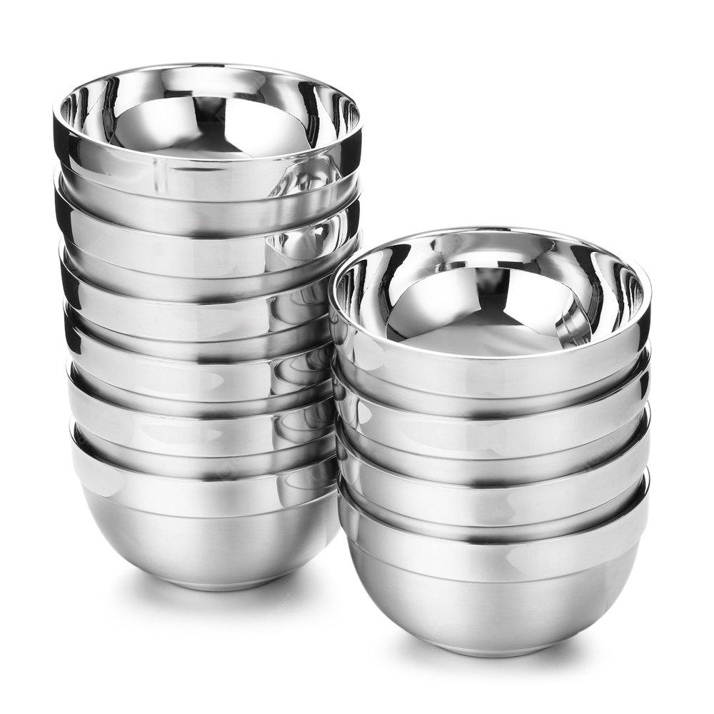 10PCS Stainless Steel Double-deck Bowl