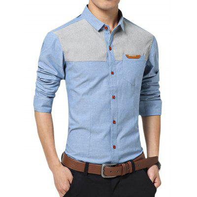 Casual Long Sleeve Color Block Men Shirt