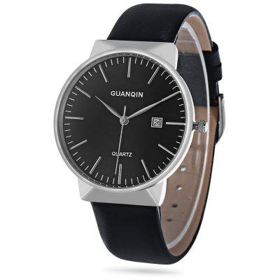 Buy SILVER AND BLACK GUANQIN GS19057 Business Men Quartz Watch for $34.67 in GearBest store