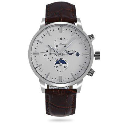 GUANQIN GJ16045 Male Auto Mechanical WatchMens Watches<br>GUANQIN GJ16045 Male Auto Mechanical Watch<br><br>Band material: Genuine Leather<br>Band size: 26.00 x 2.00 / 10.24 x 0.78 inches<br>Brand: GUANQIN<br>Case material: Stainless Steel<br>Clasp type: Hidden clasp<br>Dial size: 4.50 x 4.50 x 1.25 cm / 1.77 x 1.77 x 0.49 inches<br>Display type: Analog<br>Movement type: Mechanical watch<br>Package Contents: 1 x GUANQIN GJ16045 Men Automatic Mechanical Watch<br>Package size (L x W x H): 14.90 x 9.40 x 2.80 cm / 5.87 x 3.7 x 1.1 inches<br>Package weight: 0.1200 kg<br>Product size (L x W x H): 26.00 x 4.50 x 1.25 cm / 10.24 x 1.77 x 0.49 inches<br>Product weight: 0.0800 kg<br>Shape of the dial: Round<br>Special features: Date, Day<br>Watch color: Black and Golden, White+Black+Silver, Brown and Golden, Black + Silver<br>Watch mirror: Sapphire<br>Watch style: Business<br>Watches categories: Men<br>Water resistance: 30 meters<br>Wearable length: 20.00 - 24.00cm / 7.87 - 9.45 inches