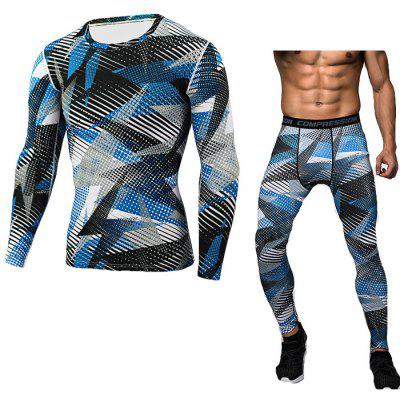 Buy BLUE 2XL Male Camo Fitness Training Suit for $25.96 in GearBest store