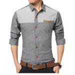 Casual Long Sleeve Color Block Men Shirt - GRAY