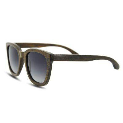 Square UV400 Polarized Lens Wood Frame Sunglasses
