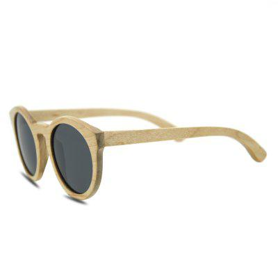 Polarized Lens UV400 Wood Frame Round Sunglasses