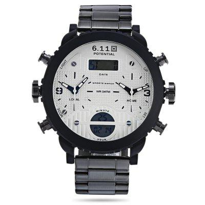 6.11 8159 Dual Movt Watch for MaleMens Watches<br>6.11 8159 Dual Movt Watch for Male<br><br>Available Color: Silver,Silver and Black<br>Band material: Stainless Steel<br>Band size: 23.00 x 2.40 cm / 9.06 x 0.94 inches<br>Brand: 6.11<br>Case material: Alloy<br>Clasp type: Folding clasp with safety<br>Dial size: 5.30 x 5.30 x 1.50 cm / 2.09 x 2.09 x 0.59 inches<br>Display type: Analog-Digital<br>Movement type: Multiple Movt<br>Package Contents: 1 x 6.11 8159 Male Watch<br>Package size (L x W x H): 25.00 x 7.00 x 3.00 cm / 9.84 x 2.76 x 1.18 inches<br>Package weight: 0.2250 kg<br>Product size (L x W x H): 23.00 x 5.30 x 1.50 cm / 9.06 x 2.09 x 0.59 inches<br>Product weight: 0.1900 kg<br>Shape of the dial: Round<br>Special features: Alarm Clock, Date, Luminous, Stopwatch<br>Watch mirror: Mineral glass<br>Watch style: Casual<br>Watches categories: Male table<br>Water resistance: 30 meters