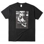 Cotton Dog Figure Print Short Sleeves T Shirt for Men - BLACK