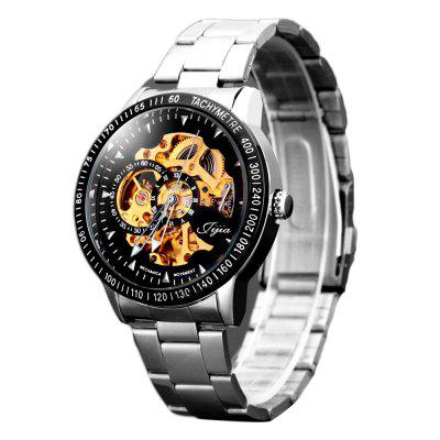 Gearbest Jijia 8010 Men Mechanical Watch Self - winding Hollow - out Round Dial Stainless Steel Wristband - BLACK