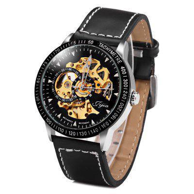 Jijia 8010 Automatic Mechanical Male Watch Hollow - out with Leather Strap Round Dial