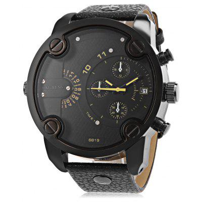 Cagarny 6819 Male Quartz Watch with Date Japan Movt Round Dial Leather Wristband