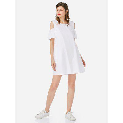 Women Open Shoulder Cotton White Dress