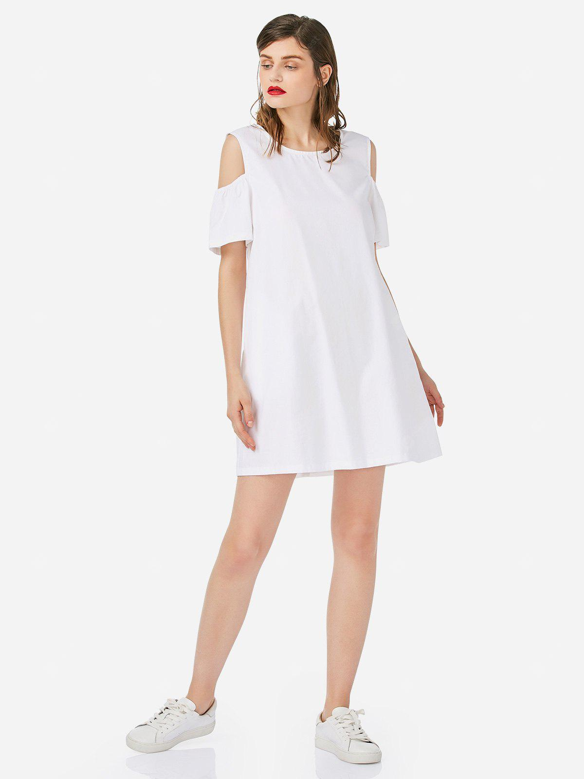 WHITE S Women Open Shoulder Cotton White Dress